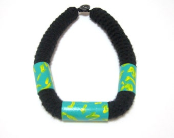 Green Painted Cardboard Necklace/ Black Wool Yarn/ Crocheted Necklace
