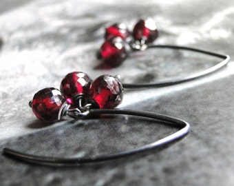 SALE Jewelry Earrings Garnet Sterling Silver Gemstone Earrings /  Dangle Earrings  / Accessories / Gift Box