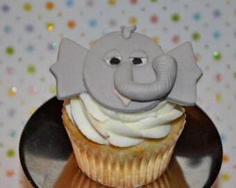Elephant Fondant Cupcake, Cake or Cookie Toppers- Edible- 1 DOZEN