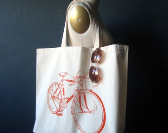 Screen Printed Recycled Cotton Tote Bag - Eco Friendly Grocery Tote - Reusable and Washable - Canvas Tote Bag - Large Tote - Road Bike