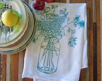 Tea Towel - Screen Print Tea Towel - Flour Sack Towel - Kitchen Towels - Dish Towels - Wildflowers - Tea Towel Set - Tea Towels Flour Sack