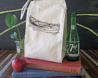 Lunch Bag - Screen Printed Lunch Bag - Reusable and Washable - Recycled Cotton - Eco Friendly Lunch Box - Handmade - Canvas Tote Bag - Canoe