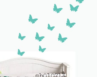 Wall Decal Butterfly theme perfect to add a cute touch in a nursery SALE 10 pieces turquoise