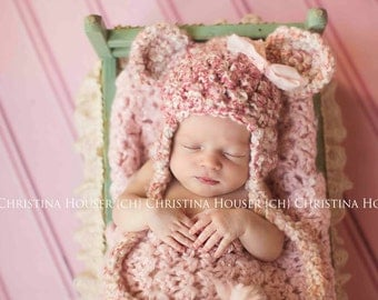 Pink and Cream Earflap Teddy Bear Hat Newborn Photography