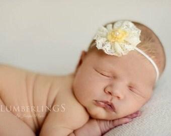 Yellow Lace Flower Headband Newborn Photography