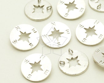 PD-831-MS / 2 Pcs - Compass Sideways Pendant for Necklace, Matte Silver Plated over Brass / 11mm