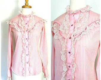 Vintage Rockabilly Shirt - 60s shirt - western shirt - cowgirl -  pink blouse - rodeo shirt - cowgirl - Miss Rodeo America - S