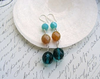 Color block earrings, Blue Zircon earrings, Caribbean blue earrings