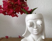 Vintage 1930's Inspired Porcelain Double Bird Flower Girl Head Vase
