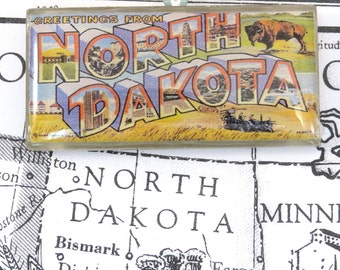 Greetings from NORTH DAKOTA Vintage Large Letter Postcard Pendant Necklace