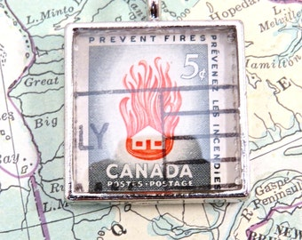 Vintage Canada Canadian Prevent Fires Postage Stamp Necklace Pendant Key Ring