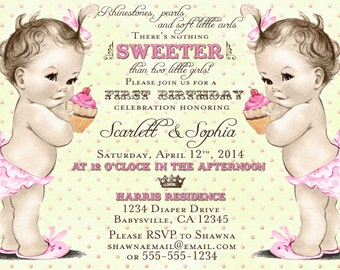 twins st birthday  etsy, Birthday invitations