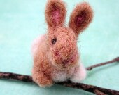 Little brown and white bunny needle felted
