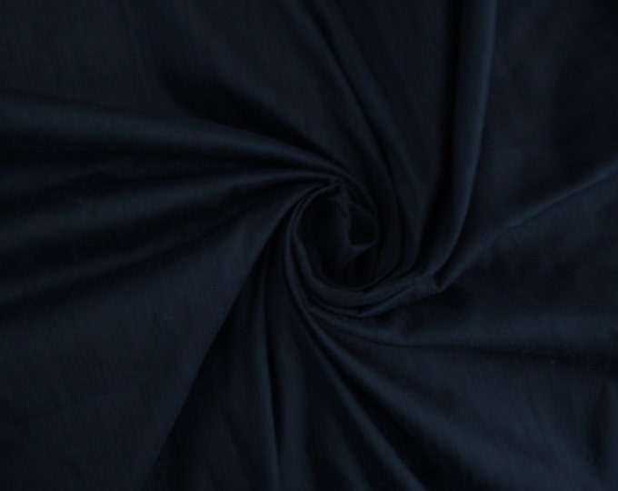 "Dark Navy Blue 100% dupioni silk fabric yardage By the Yard 45"" wide"