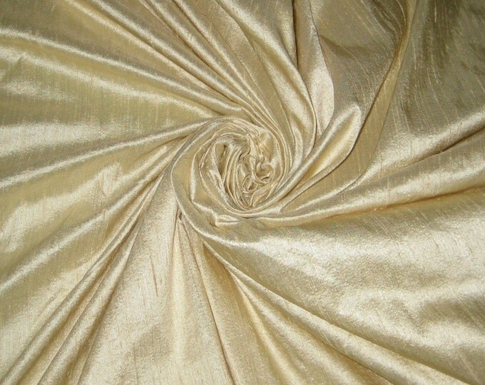 "Beige or Light Cream 100% Dupioni Silk Fabric Wholesale Roll/ Bolt 55"" wide"