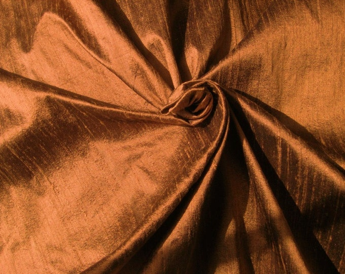 "Unique Brown 100% Dupioni Silk Fabric Wholesale Roll/ Bolt 55"" wide"