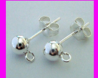 10pcs 5mm ball 925 stamped Sterling Silver earring ear post with butterfly backing E77