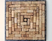 Wine Cork Square Bulletin Board in a Spiral Pattern with a Black Glittery Border