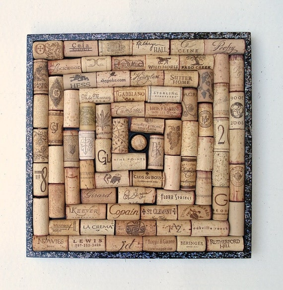 Items similar to wine cork square bulletin board in a for Wine cork patterns