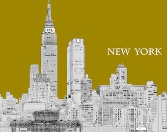New York Art, Empire State Building, Line Art, Graphic Print, New York Skyline Art, NYC Skyline Art