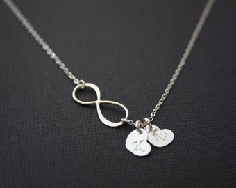 Customized  Infinity necklace with TWO initial hearts-STERLING SILVER, figure eight- birth day gift ,for her ,Christmas gift ,  wedding gift