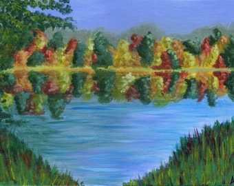 Fall Trees at Lake -  Acrylic Landscape Painting