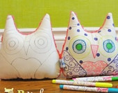 BWinks Color - One Color me an owl - Doodle Owl - Stuffed Owl toy activity - MARKERS NOT INCLUDED