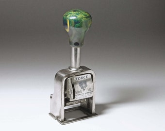 Vintage Auto Numbering Machine with Green Marbled Bakelite Knob - Made by Wm. A. Force and Co.