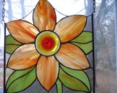 Stained Glass Orange Flower Panel