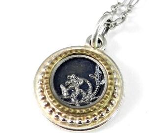 SALE Antique Button Necklace Vintage Button Blossom Design Silver Necklace