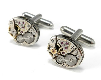 STEAMPUNK Watch Movement Cufflinks, SMALLER, Mens Industrial Accessories, Wedding Anniversary Gift Steampunk Jewelry by Compass Rose Design
