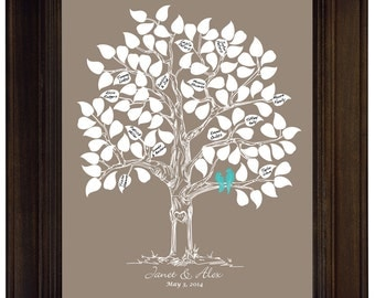 Wedding guest book alternative poster personalized wedding gift engagement gift love bird themed wedding unique guestbook taupe turquoise