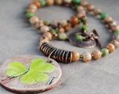 Woodland Shamrock Necklace Featuring ceramic pendant from Mary Harding Jewelry