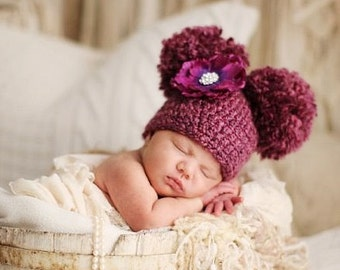 Baby Double Pom Pom Hat, Crochet Pom Pom Baby Hat, Choose Any Color, Newborn Photography Prop, Baby Photo Porp