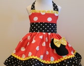Minnie Mouse Dress Halter Dress Red, Yellow and Black 12M to 6Y