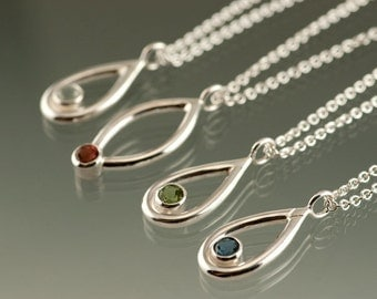 One Sterling Silver Pendant with an 4mm Gemstone of your choice: Amethyst, Peridot, White Topaz, Citrine, Blue Topaz, or Garnet.  Small Size
