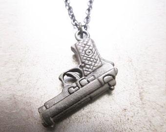 Black Gun Necklace Mens Pistol Pendant Jewelry from Carpe Diem