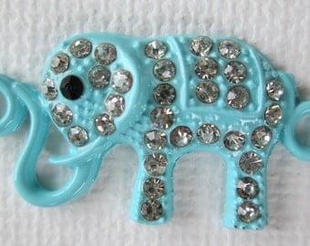 1PC - Elephant Connector - Blue Enamel with Rhinestones - 31x15mm