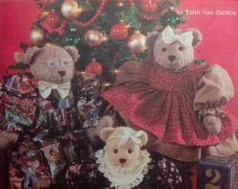 "Sewing Pattern Holiday Teddy Bears Family Stuffed Toys 22"" and 18"" Stuffie Uncut Dress Bloomers Jumpsuit Bow tie"