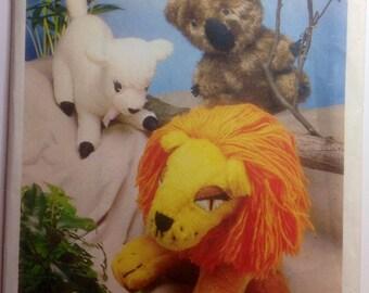 Vintage Sewing Pattern Stuffed Animals Lion Koala Bear Lamb Plush Toys 1976 Stuffies