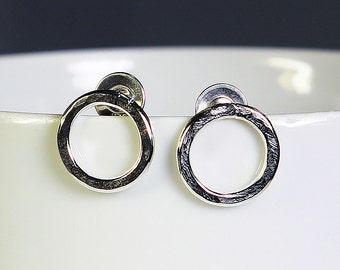 Handcrafted Sterling Silver Post/Stud Circle Earrings Hammered Texture Artisan Jewelry Minimalist Petite Design Handmade in USA 4221