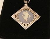 Wedgwood pendant.  Vintage Wedgwood.  Blue and white.  Square setting