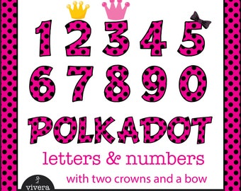 Digital Clip Art - Hot Pink Ladybug Letters and Numbers with Red Outine and additional Bow, and Crowns