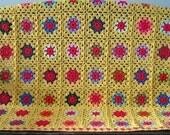 Granny Squares Crochet Blanket Afghan Sunshine Yellow