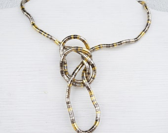 Summer Outdoors Industrial Necklace Metal Dragon Necklace or 4 Wrap Bracelet Flexible Mixed Metal Tube Necklace Snake Knot Necklace