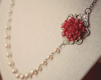 Handmade Beige Pearl Necklace Dark Red Flower Necklace Red Resin Flower Necklace