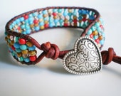 Turquoise and Red Jewelry Rustic Bracelet Heart Shaped Button Cuff Mini Cuff Boho Leather Cuff Single Wrap Leather Mini Cuff