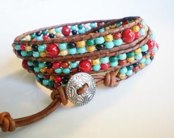 Southwestern Three Wrap Leather Wrap Bracelet