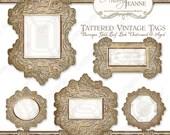 Digital Clip Art Clipart Frames E14-03A Shaped tags, labels w gold baroque scrolls on tattered vintage parchment paper enameled frame