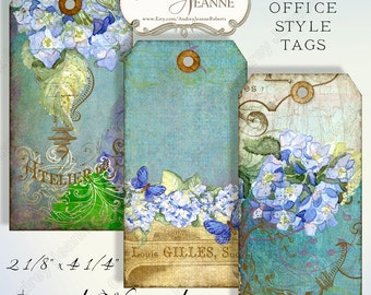 Digital Blue Hydrangea Manila Office Style Tags Collage Sheets AJR-034B scrapbook greeting card supplies art blue hydrangeas butterfly